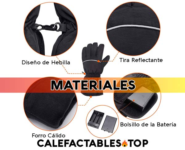 Materiales de un guante calefactable